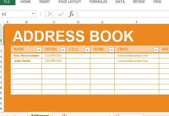 Address Book Maker Template For Excel - contact list template