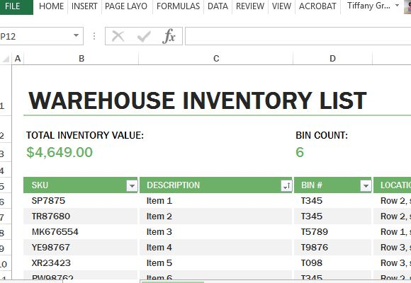 excel inventory list template