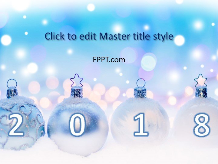 Free New Year Frozen Balls PowerPoint Template - Free PowerPoint