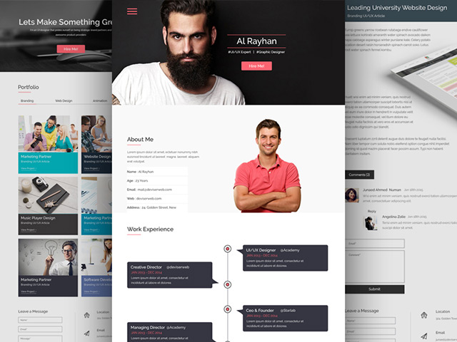 cv photoshop template site web html