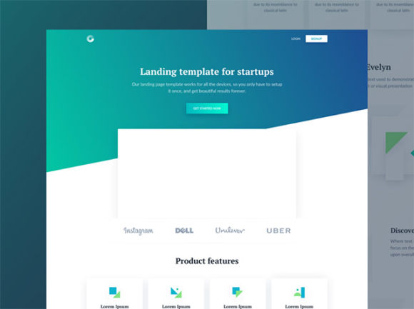 Evelyn HTML landing page for startups - Freebiesbug