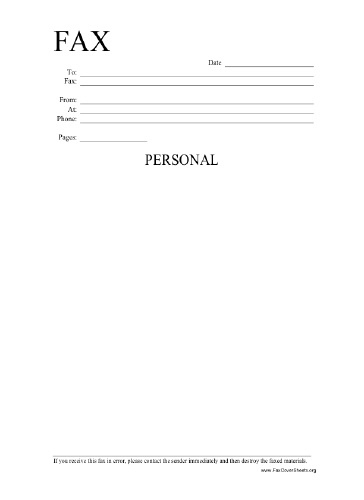 Personal Information Fax Cover Sheet at FreeFaxCoverSheetsnet - Blank Fax Cover Sheet