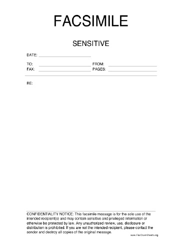Sensitive Information Fax Cover Sheet at FreeFaxCoverSheetsnet