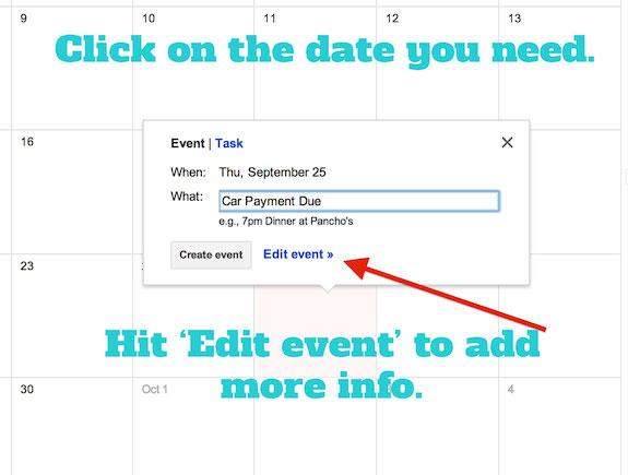 Set up Google Calendar as a Bill Pay Calendar and Pay Your Bills On Time - bill calendar