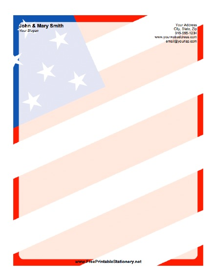 American Flag Background Stationery - stationery for word documents