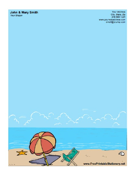 Beach Umbrella Stationery - stationery for word documents