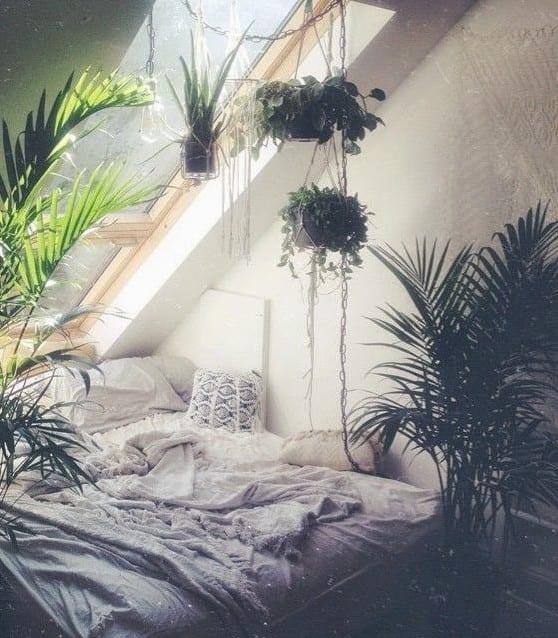 schlafzimmer ideen im boho stil mit vielen pflanzen - fresHouse - 50 schlafzimmer ideen im boho stil