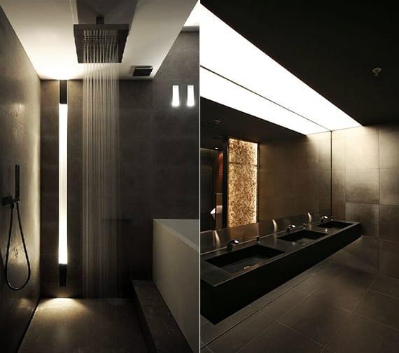 bad-modern-gestalten-mit-licht_moderne-einabauleuchte-und-kreative - badezimmer modern gestalten