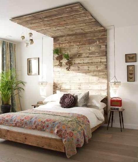 Wandgestaltung Ideen mit Paletten für schlafzimmer in shabby chic - raumgestaltung ideen