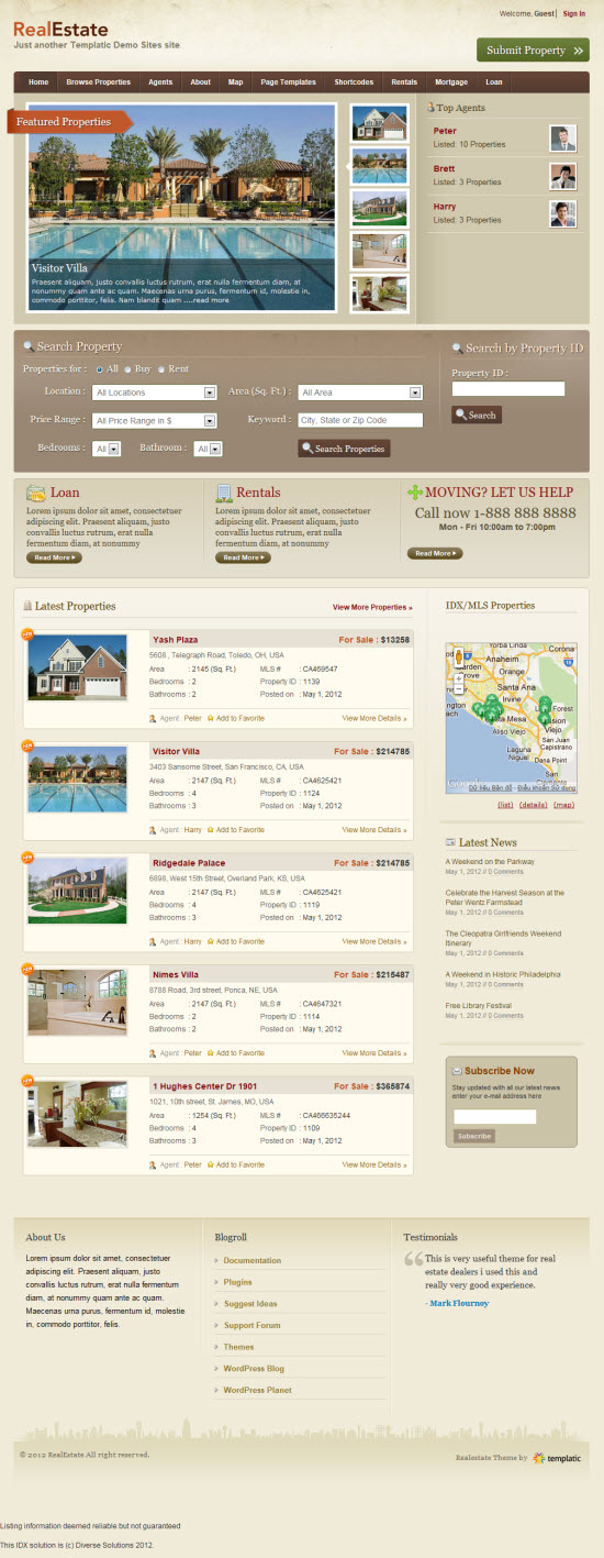 30+ Best Real Estate WordPress Theme of 2012 Fripin