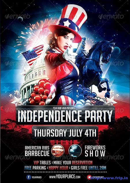 Independence Day Party Flyer Template - independence day flyer