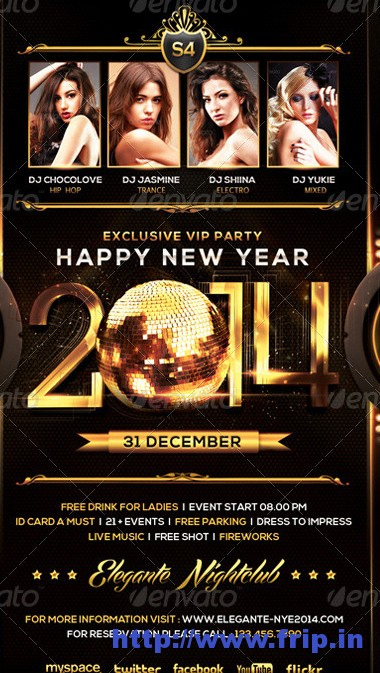 Best 35 Christmas  New Year Flyer Templates For 2014 Fripin
