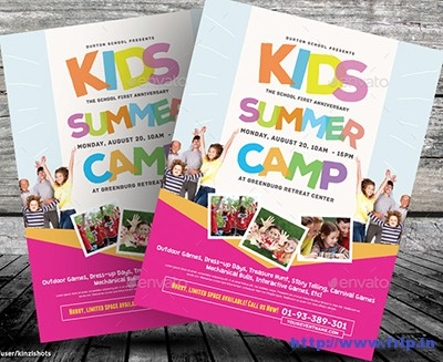 50+ Best Kids Summer Camp Flyer Print Templates 2018 Fripin - Summer Camp Flyer Template