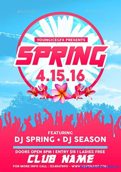 80+ Best Spring Break Party Flyer Print Templates 2017 Fripin - spring flyer template