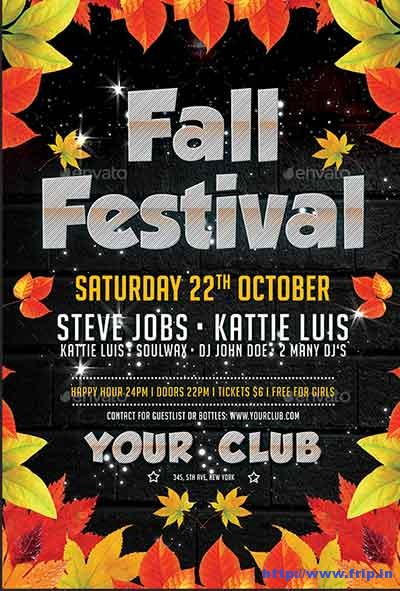 80 Best Fall Festival Flyer Print Template 2018 Fripin