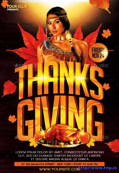 65 Best Thanksgiving Party Flyers Print Templates 2018 Fripin