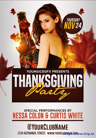 65 Best Thanksgiving Party Flyers Print Templates 2017 Fripin