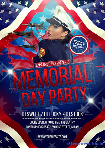 Memorial Day Flyer Template Memorial Day Celebration Premium Flyer