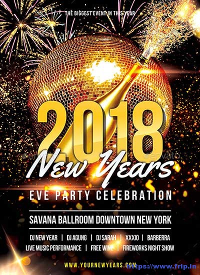 65 Best New Year Flyer Print Templates 2018 Fripin - free new years eve flyer template