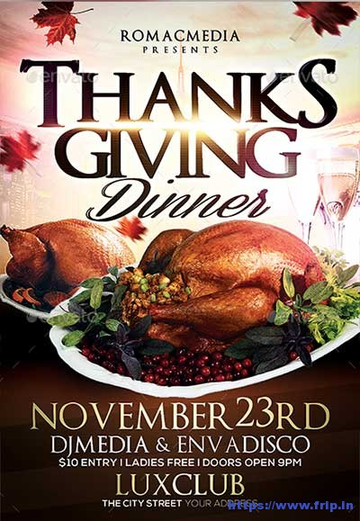 65 Best Thanksgiving Party Flyers Print Templates 2017 Fripin - Dinner Flyer