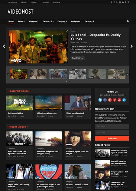 VideoHost Video WordPress Theme By Happy Themes Fripin