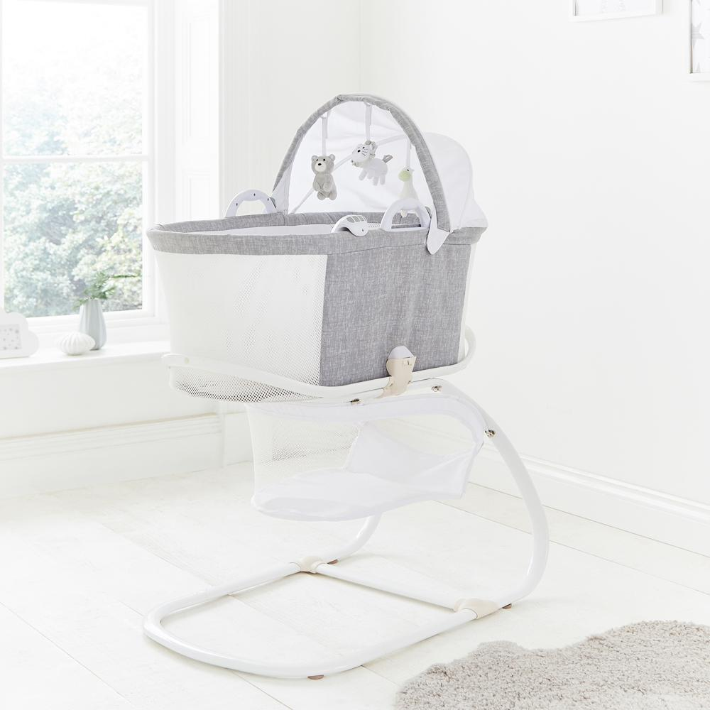 Baby Bassinet Moses Basket Details About Purflo Bassinet Baby Crib Moses Basket With Stand Mattress Sound Box Toys Grey
