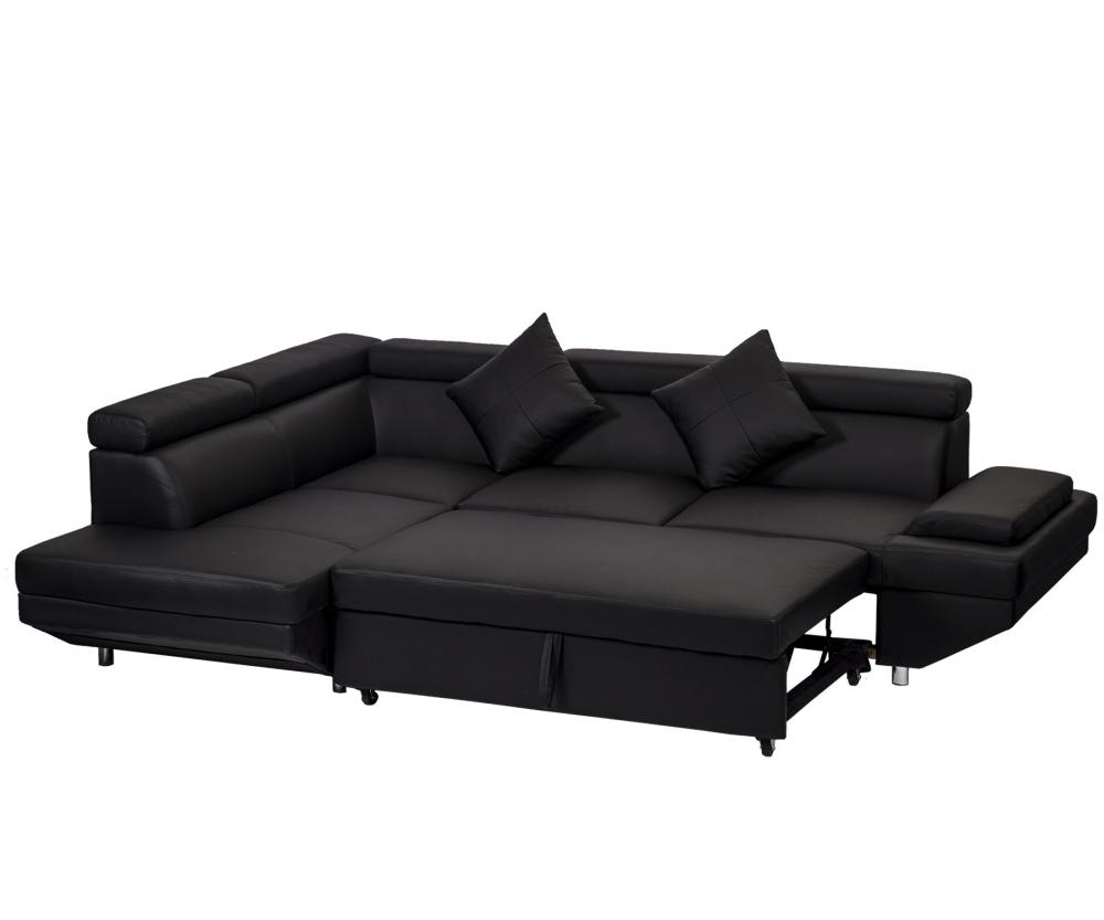 Couch With Bed In It Details About Contemporary Sectional Modern Sofa Bed Black With Functional Armrest Back L