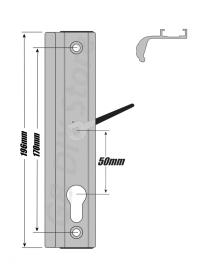 Fullex uPVC Sliding Patio Door Handle Set 50mm PZ White | eBay