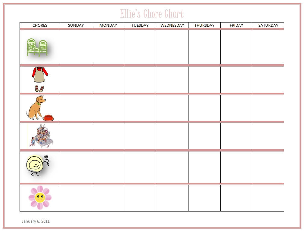 Free Online Kids Chore Chart - Teach Kids about Work and Money! - sample chore chart