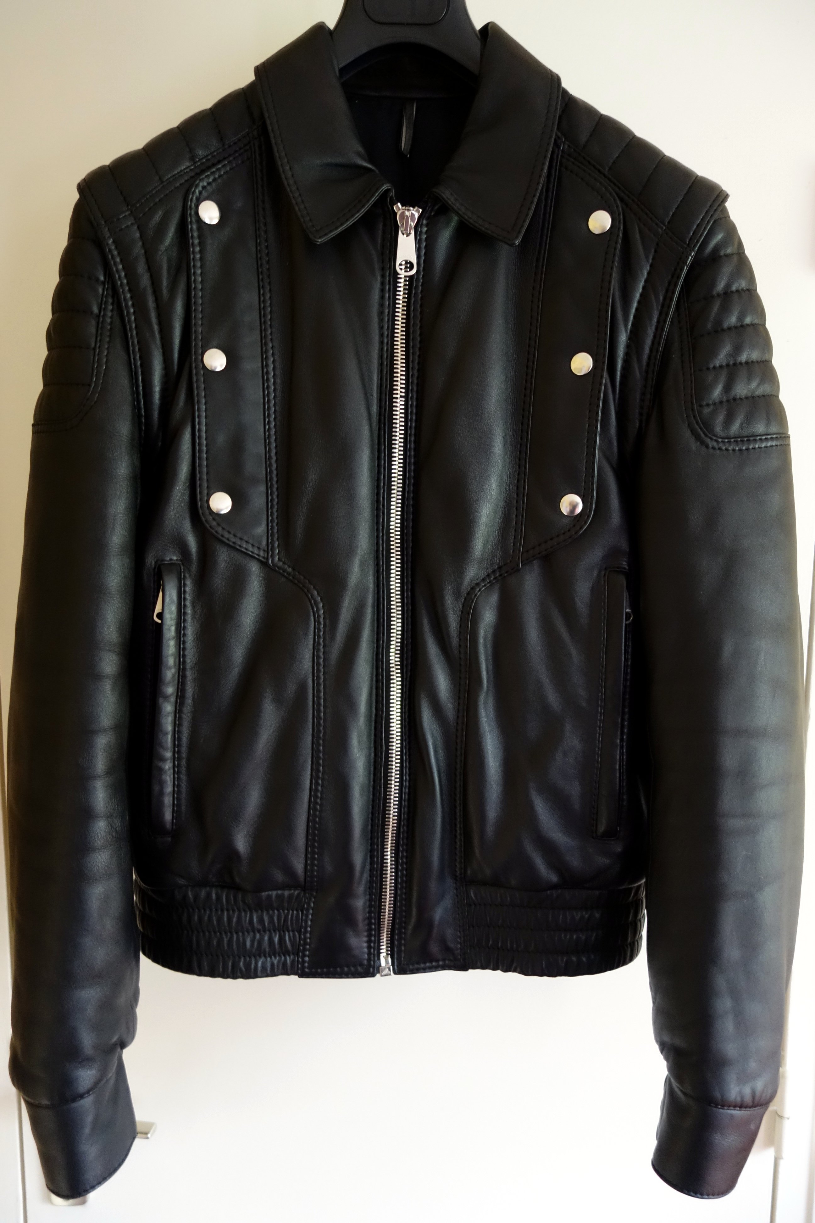 Leather Cuir Dior Homme Black Padded Jacket Vest Cuir Leather Size Sz 50 M Medium L Large Justice Two Way Biker Napoléon Wyatt Slp L01 17 Fw08 Aw08