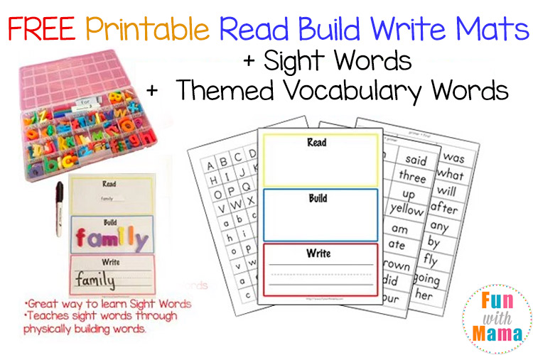 Free Printable Read Build Write Mats + Vocabulary Cards - Fun with Mama - vocab cards