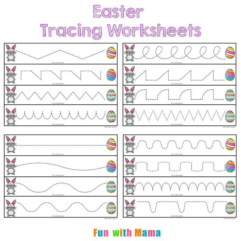 Easter Tracing Worksheets for Preschoolers - Fun with Mama