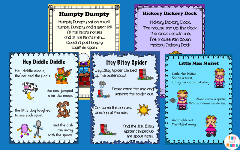 Nursery Rhymes Printables Posters - Fun with Mama