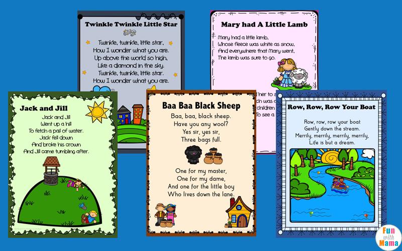 Nursery Rhymes Printables Posters - Fun with Mama