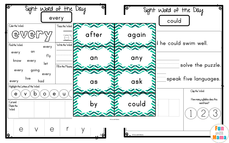 Dolch First Grade Sight Words Worksheets - Fun with Mama - dolch sight word flashcards