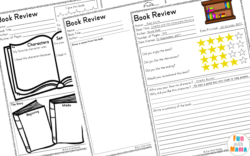 Reading Log PDF and Book Report Templates - Fun with Mama - book review template