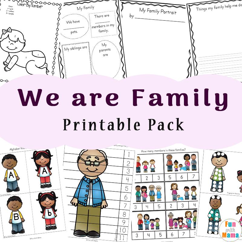 Family Theme Preschool and Family Worksheets For Kindergarten - Fun