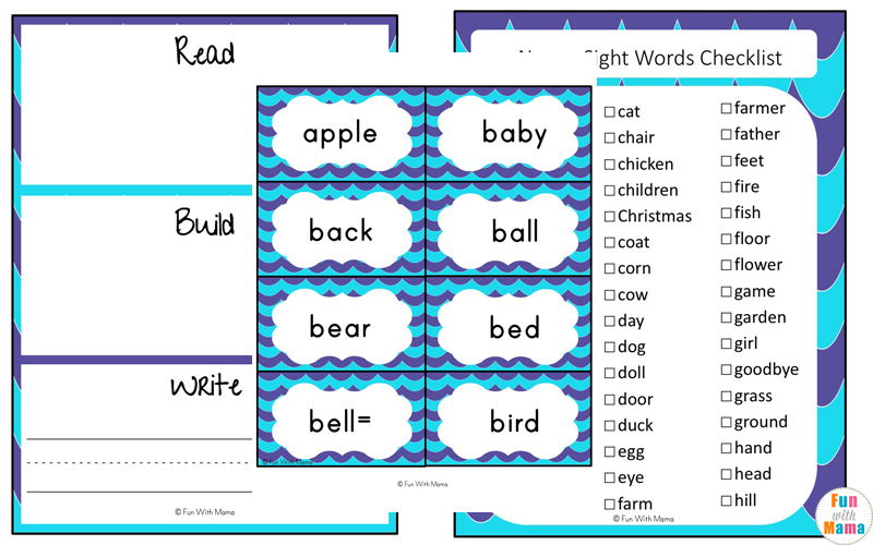 Sight Words Flash Cards Dolch Nouns - Fun with Mama