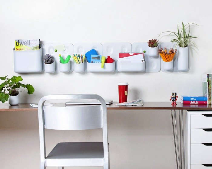 7 Ways to Organize and Green Your Office Simultaneously - Gardenista - hanging office organization