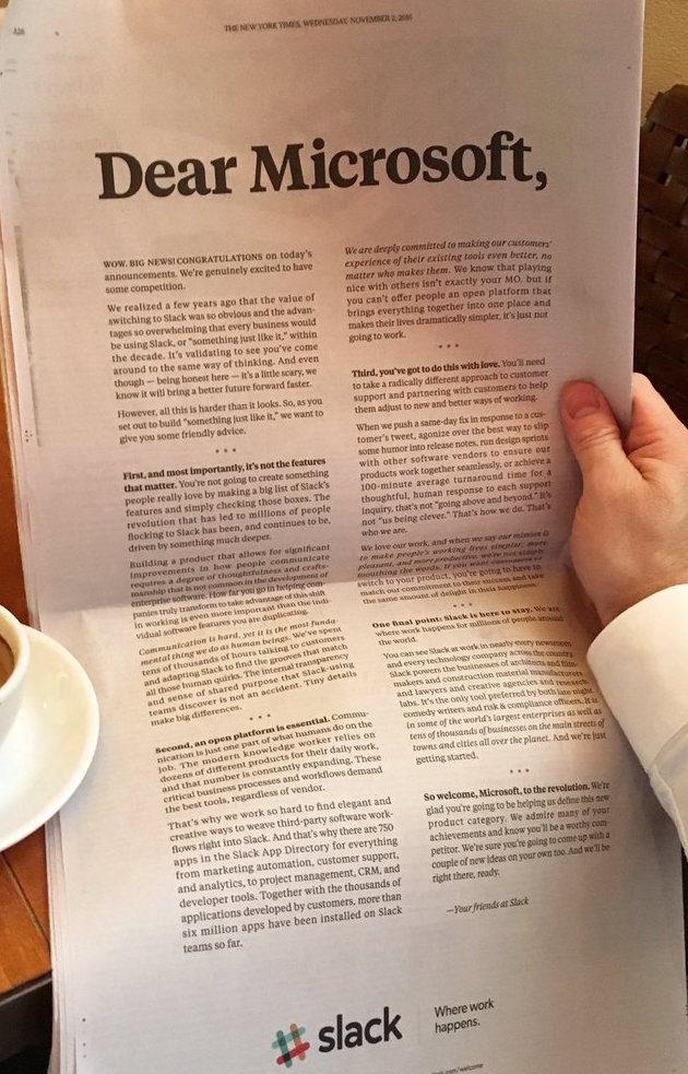 Full text Slack offers \u0027friendly advice\u0027 to Microsoft in full-page