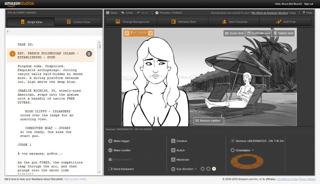 Amazon launches free movie storyboard tool, with a catch \u2013 GeekWire
