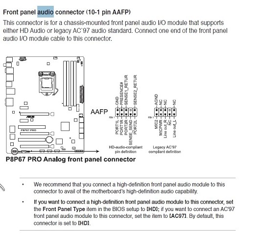 Audio Connection Issue - front panel
