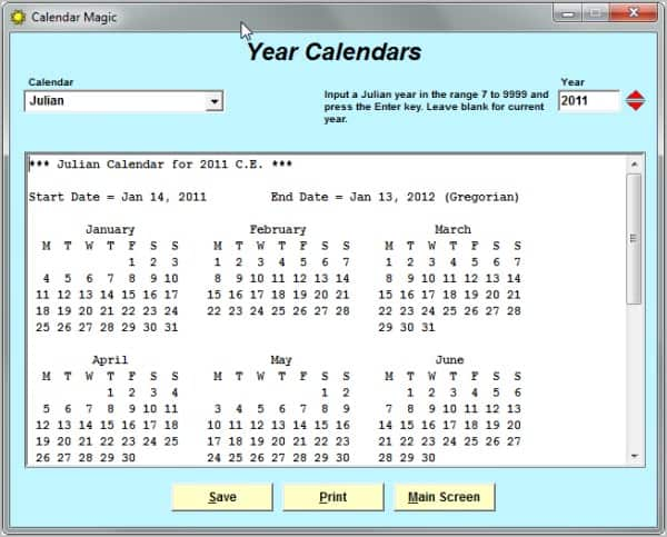 Sample Julian Calendar Sample Julian Calendar Download Free