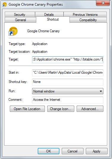 browser shortcut modified