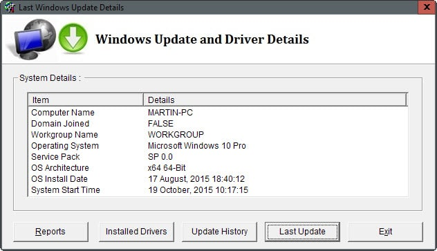windows update and driver details