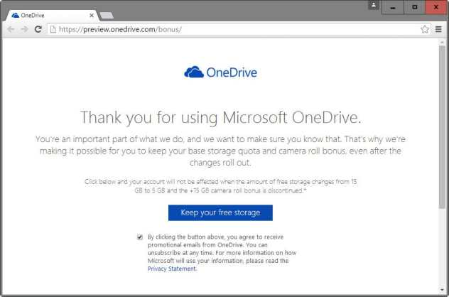 onedrive keep your free storage