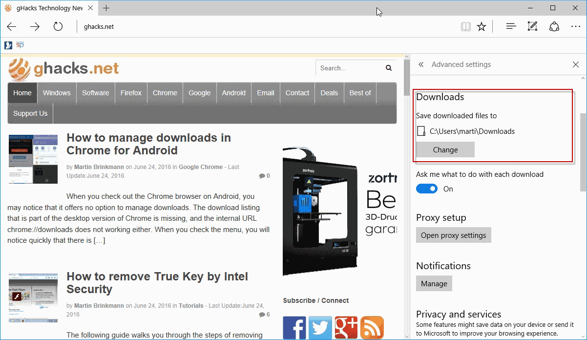 microsoft edge downloads location