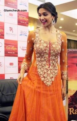 Deepika Padukone Promotes Ramleela in Orange Anarkali suit 2013 ...
