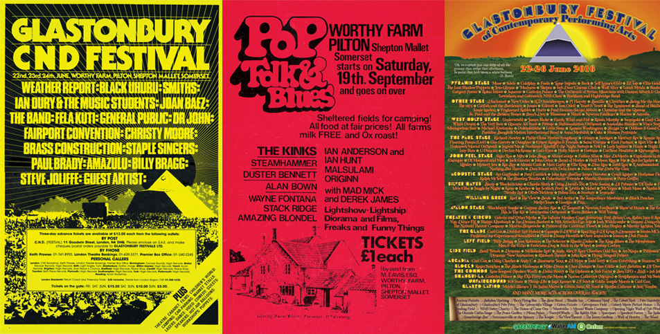 Line-up posters and new mug in our shop Glastonbury Festival - poster on line