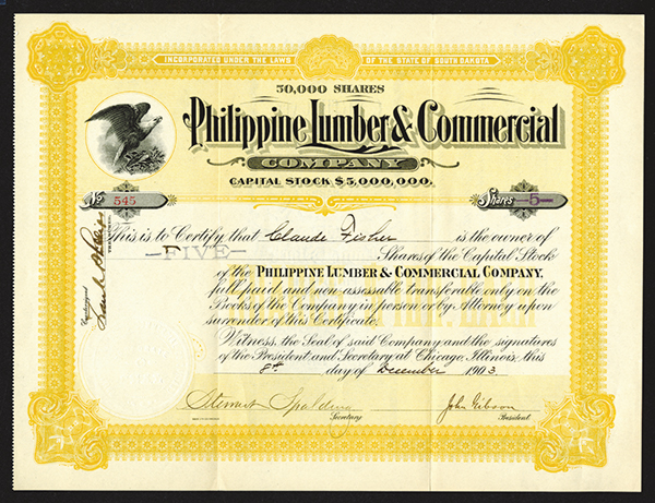 Philippine Lumber amp; Commercial Co, 1903 Issued Stock